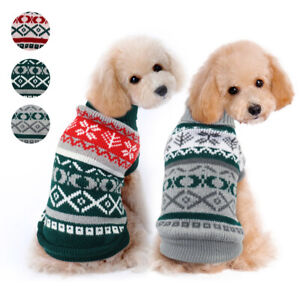 Dog Christmas Sweater.Details About Dog Christmas Sweater Knitted Small Medium Pet Puppy Clothes Winter Coat Apparel