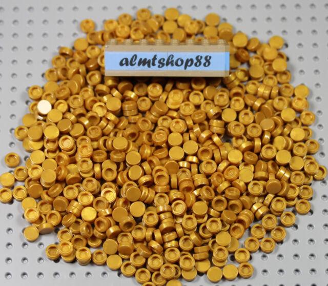 LEGO - Lot 1x1 Round Tiles Pearl Gold 98138 Finishing Plates Smooth Flat Bulk