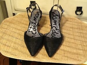 738fce404 SAM EDELMAN New York Women s Sz 8.5 M Black Woven silver heels ...