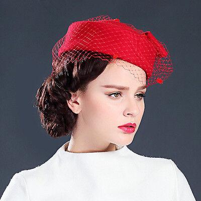 Womens GATSBY Pillbox Hat Womens Fascinator wool Felt Wedding Race Royal Ascot
