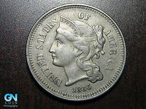 1866 3 Cent Nickel Piece    BETTER GRADE!  NICE TYPE COIN!  #B6635