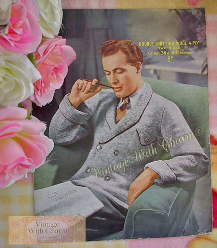 Vintage 1950s Mens House Jacket Knitting Pattern 38 /& 40 inch Chest 2  Sizes