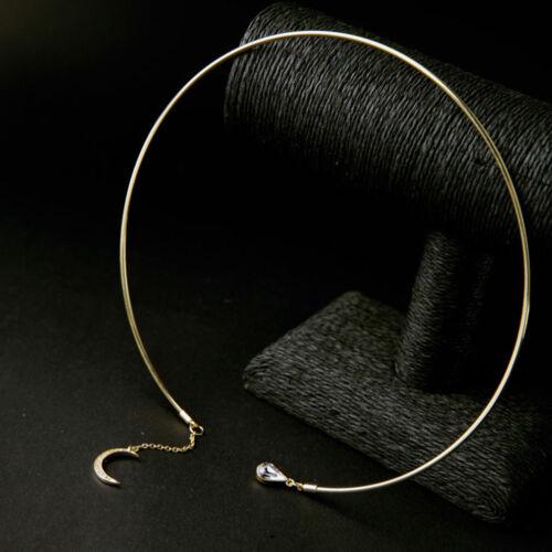Lune Goutte d/'eau en métal doré Collier Cerceau couples manchette ouverte Collier sa