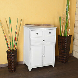 kommode schrank regal sideboard badschrank holz shabby chic weiss ebay. Black Bedroom Furniture Sets. Home Design Ideas