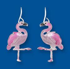 Zarah Zarlite Caribbean FLAMINGO EARRINGS Enamel Silver Plated Bird - Gift Boxed
