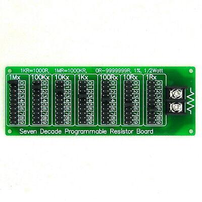 1R - 9999999R Seven Decade Programmable Resistor Board, Step 1R, 1%, 1/2 Watt.