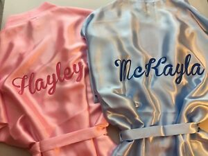 Personalised-with-childs-name-satin-christmas-robe-dressing-gown-pajamas