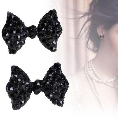 Lady Crystal Rhinestone Bow Ear Stud Earrings Bowknot Tie Earrings Lady Jewelry