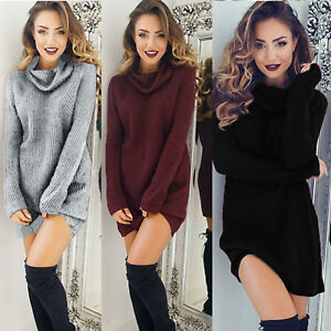 Women-039-s-Turtleneck-Knitwear-Sweater-Jumper-Dress-Winter-Warm-Pullover-Knit-Tops