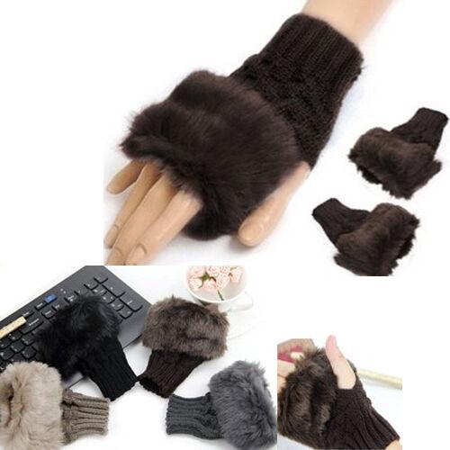 Women's Faux Rabbit Fur Hand Wrist Winter Warmer Knitted Fingerless Glove Mitten