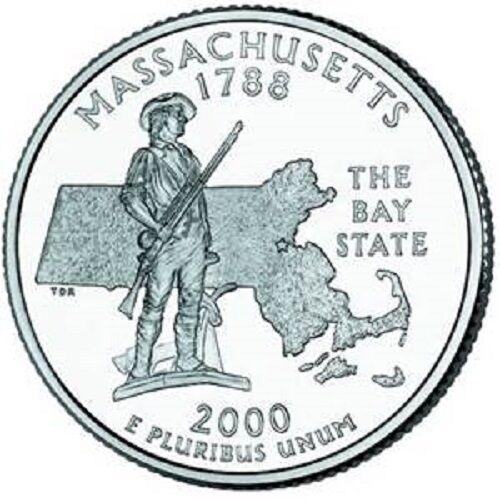 Philadelphia Mint MASSACHUSETTS State Quarter 2000 BRILLIANT UNCIRCULATED
