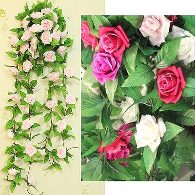 Artificial Fake Silk Rose Flower Ivy Vine Hanging Garland Home floral Decor