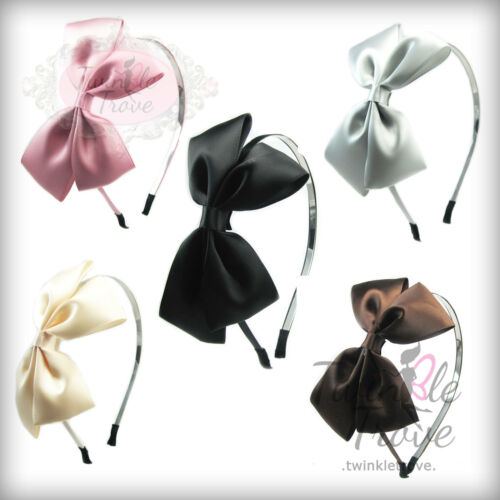 CLEARANCE Girls Large Satin Bow Bowknot Metal Alice Hairband Headband Prom Party