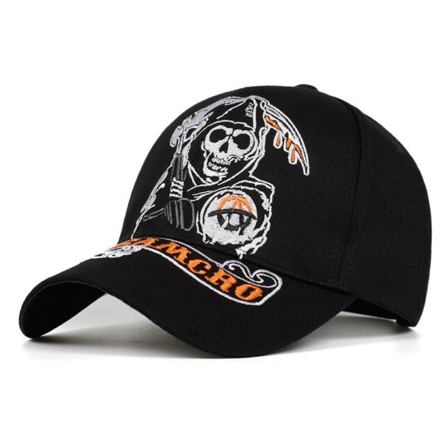 Knit Hat Cap Sons of Anarchy Samcro Reaper Soft Cap for Unisex Black Cap
