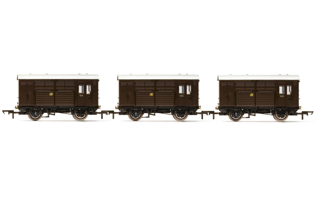 Hornby r6883 Paquete de 3 GWR REMOLQUE Para Caballos Calibre 00