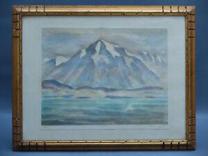 WERNER-EMIL-HENGEL-1880-1941-PEINTURE-ORIGINAL-DRAWING-WATERCOLOUR-THUN-HODLER