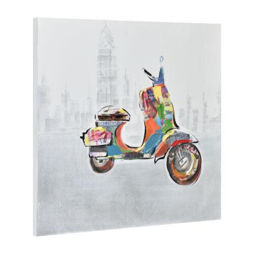 Wandbild 60x60cm Motorroller Handgemalt Leinwand GERAHMT Acryl Deko art.work