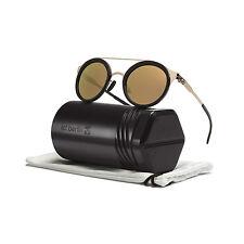 ic! Berlin Katharina L Sunglasses Rose Gold Obsidian Frame Gold Mirrored Lenses