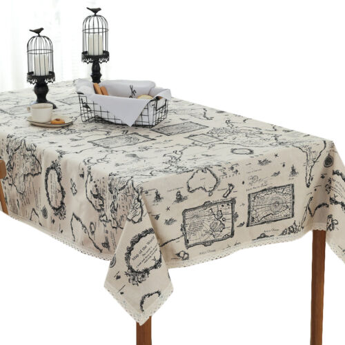 Lace Tablecloth Table Cotton Linen Cover Printed Home Decor Map Iron Tower