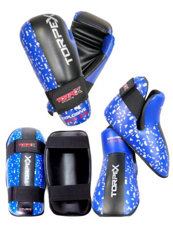 Blue Distressed Sparring Package Bundle Training Competition Gloves//Footpad//Shin