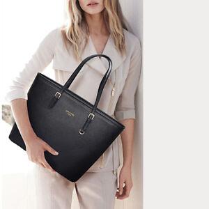 New Modern Big Black Leather Women Handbag Shoulder Bag Lady Large ... a18ade1b2b