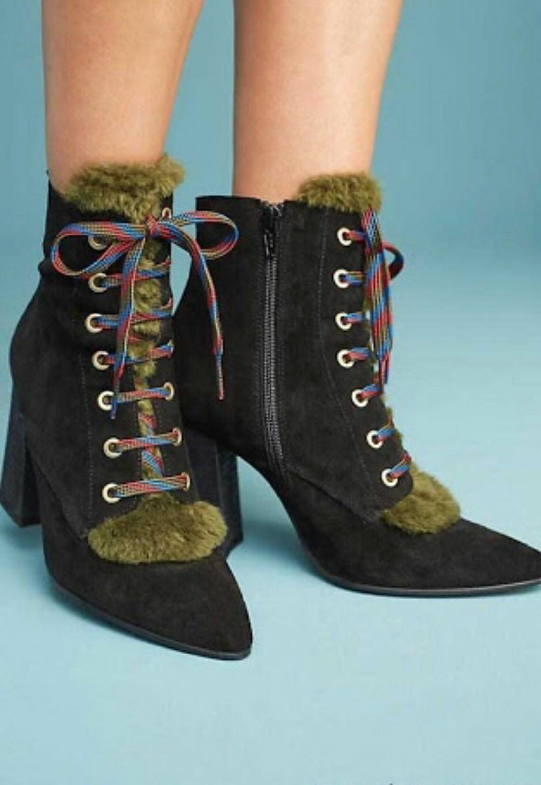 Anthropologie nero Suede Leather Fur Tongue Laceup Heeled avvioies stivali 40 New