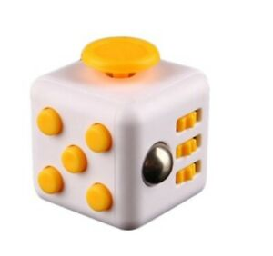 Fidget Cube Anxiety Stress Relief Focus 6-side Finger Toy White Yellow