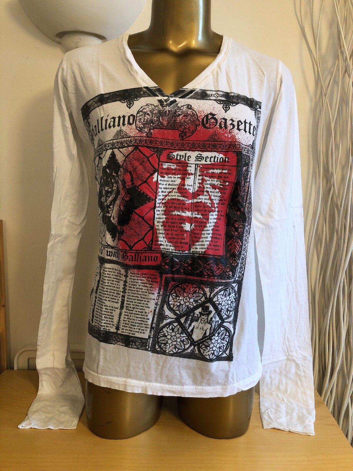 John Galliano Oversized Long Sleeve T-shirt Size S Fits M L