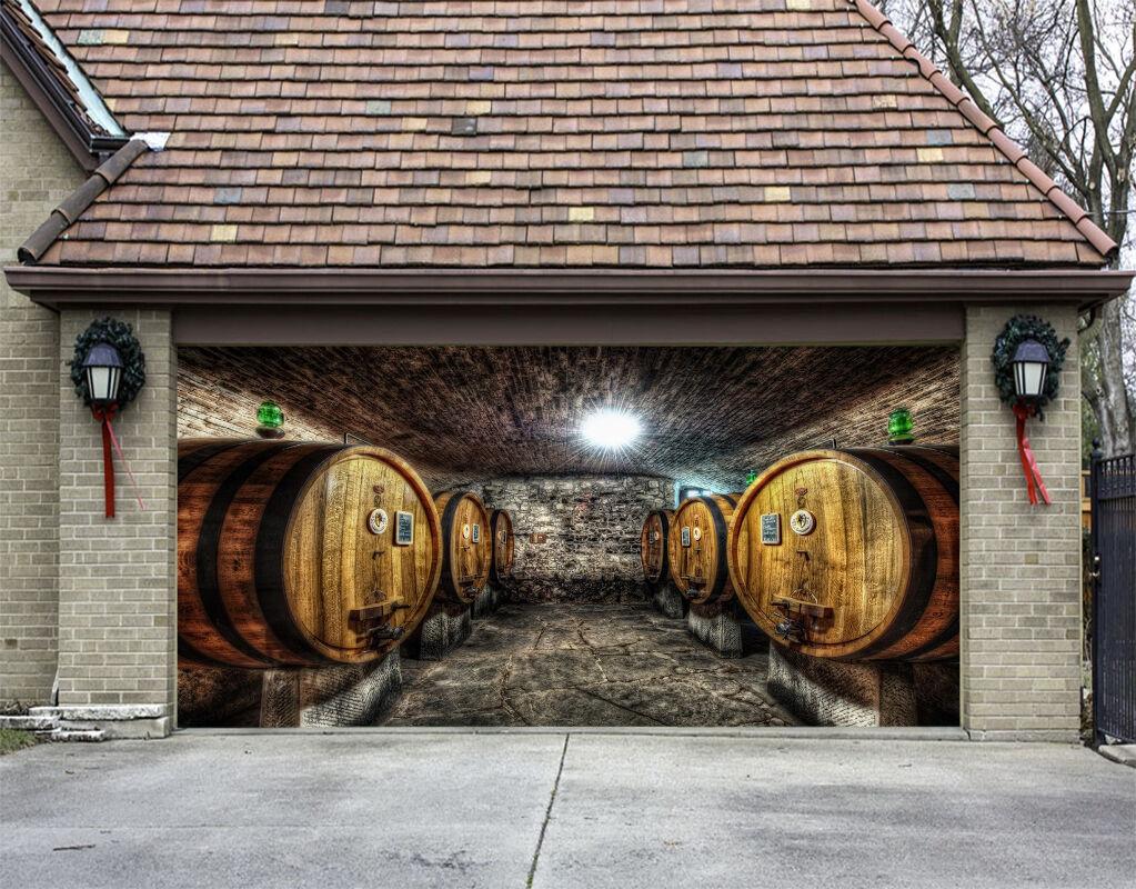3D Huge barrels Garage Door Murals Wall Print Decal Wall Deco AJ WALLPAPER UK