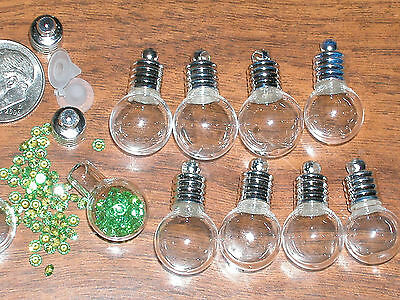 6pc Round Glass small Christmas Wholesale Lot fill BOTTLES Vial locket supplies