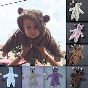 Baby-Newborn-Bear-Romper-Hooded-Jumpsuit-Infant-Boy-Girl-Babygrow-Sleepsuit-Set