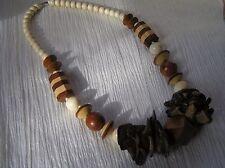 Estate Chunky Cream Tan & Brown Striped Plain Wood Bead & Coconut Shards Neck