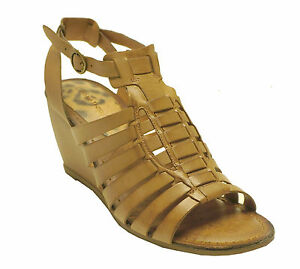 New Bare Traps Tan Leather Strappy Wedge Sandals Ivania