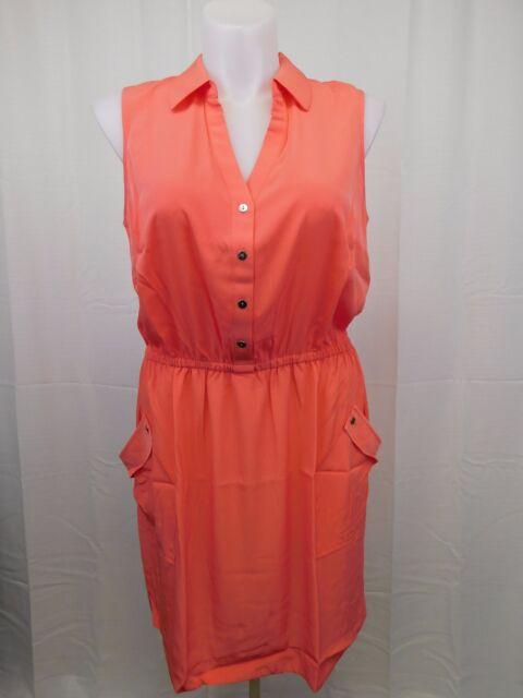 Alfani Plus Size Dress 24w Gathered Waist Sleeveless Coral Pink Ebay