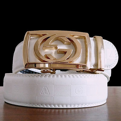 115CM Mens White Leather Belt Waistband Strap With Alloy Gold Automatic Buckle