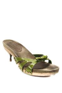 Miu-Miu-Womens-Patent-Leather-Bow-Tie-Slide-On-Sandal-Heels-Green-Size-8