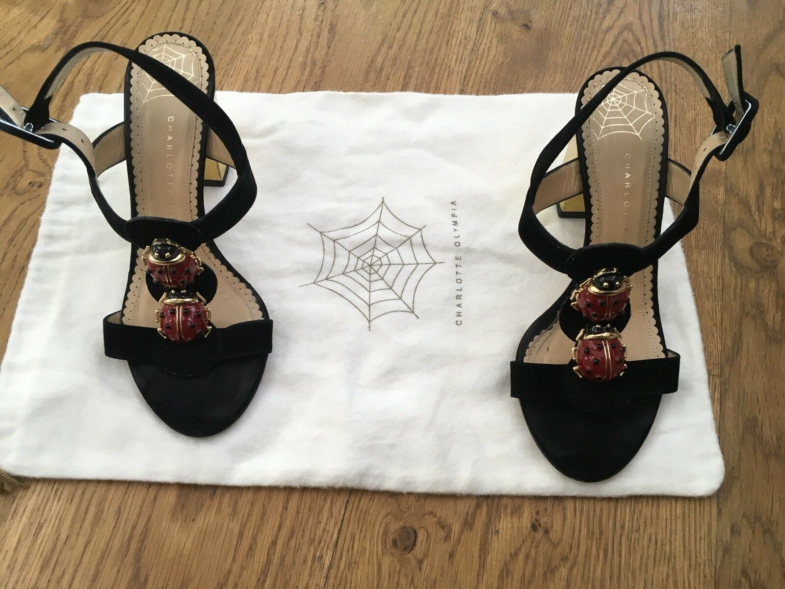 Charlotte Olympia Gala t-strap suede ladybug sandals shoes Size 35 US 5