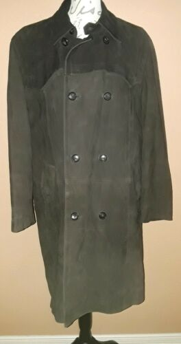 Hugo Boss Brown Genuine Leather Trenchcoat sz 42R