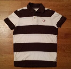 f252fbc80a A imagem está carregando Camisa-Polo-Hollister-Branca-Marrom-Listrado- Masculino-Pequeno-