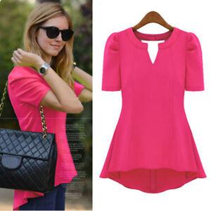 Women-Casual-Short-Sleeve-Tunic-Tops-Ladies-Summer-Chiffon-Long-T-shirt-Blouse