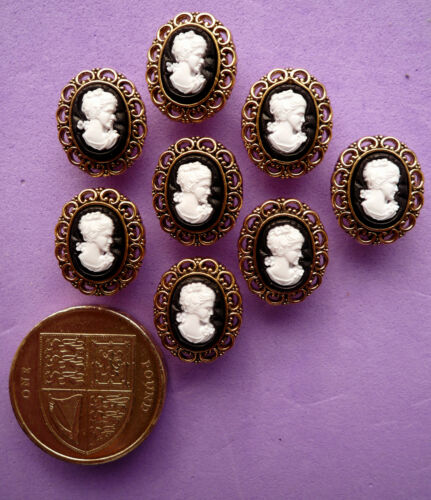 SMALL CAMEOS Victorian Style Faces Gold Craft Buttons Antique Vintage Tiny Lady