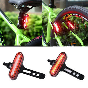 100LM Bike Bicycle Safety Warning Rear Tail Light USB Rechargeable LED Back Lamp