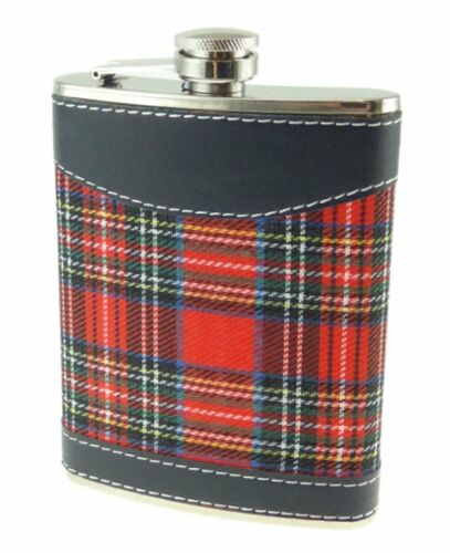 Hip Flask 8oz Set Stainless Steel Red Tartan Hip Flask 2 Cups and Funnel