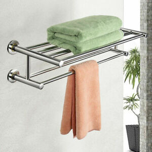 Wall-Mounted-Towel-Rack-Rail-Holder-Storage-Shelf-Bathroom-Hotel-Stainless-Steel