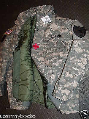 Made in US Military Army M-65 Acu Cold Weather Field Coat Jacket + Liner,Patches
