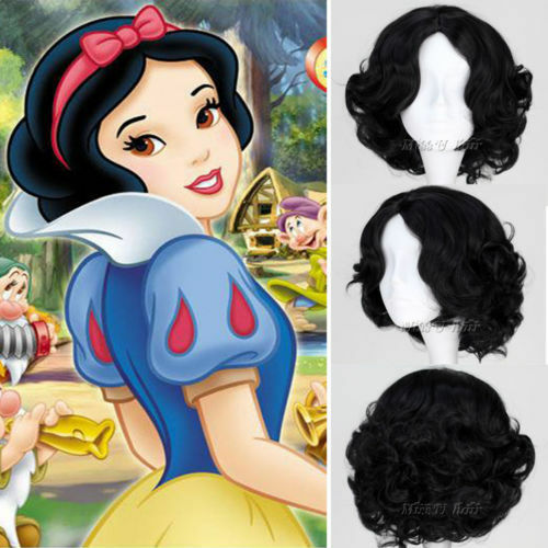 Snow White Princess Wig Full Curly Wave Black Short Hair Wigs Cosplay Anime  Wig