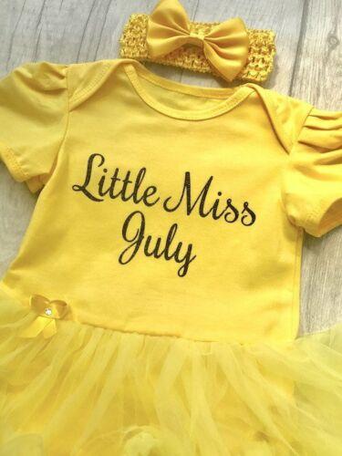 BIRTHDAY PRINCESS TUTU ROMPER Newborn Baby Girl Little Miss July Black Glitter