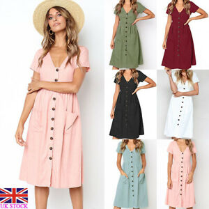 Details About Womens Short Sleeve Button Pocket Midi Dress Ladies Summer Holiday Dresses 10 16