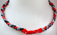 "NEW 20"" Custom Clasp Braided Sport Black Grey Gray Red Twisted Tornado Necklace"