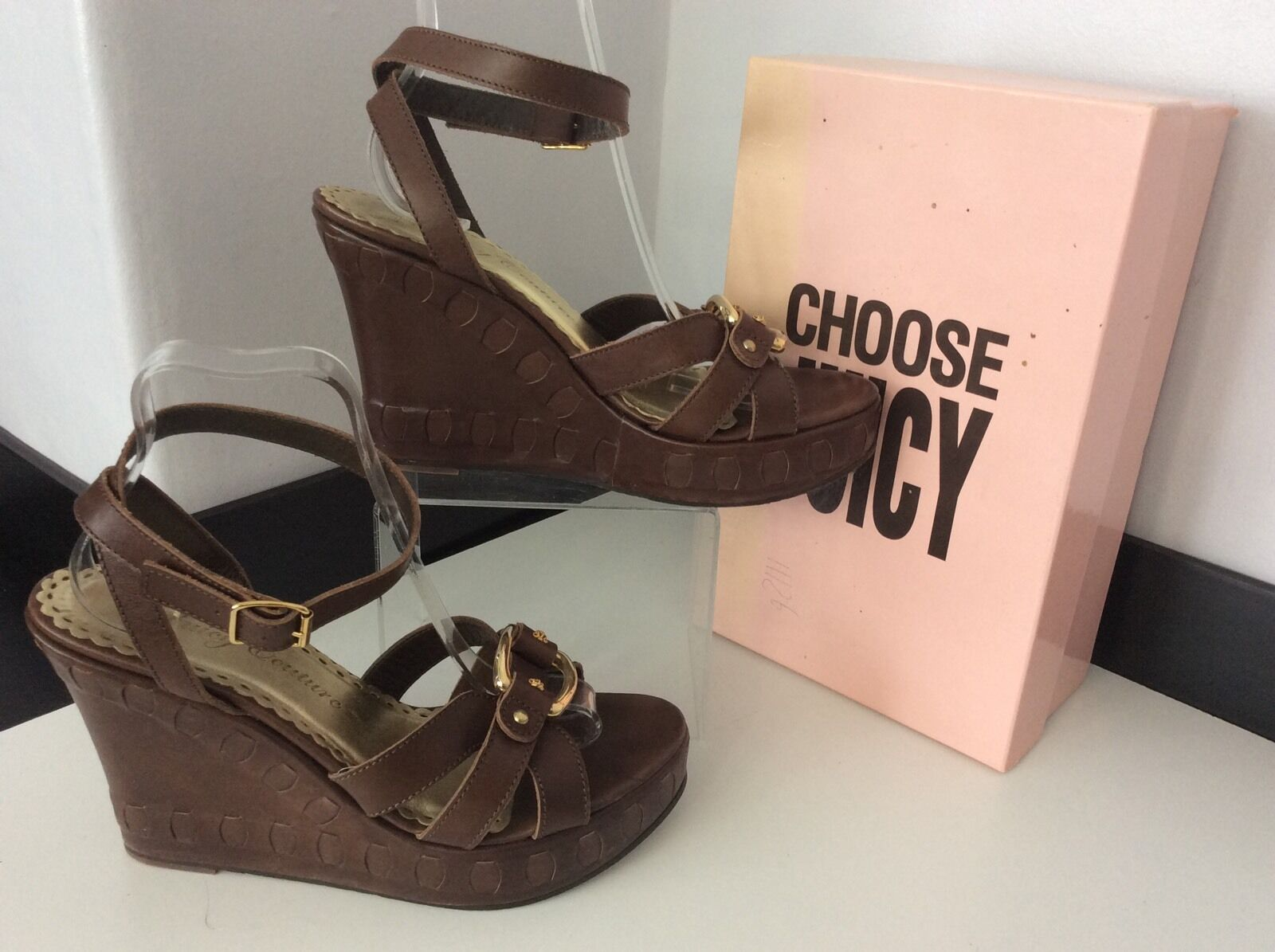 Juicy Couture Ladies Brown Leather Wedges, Uk 7, Eu41, Summer Vgc,